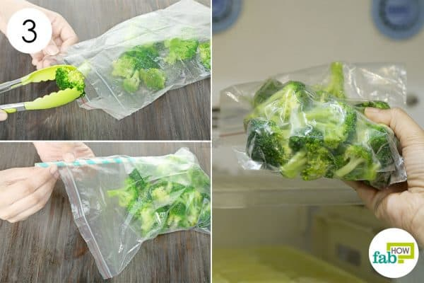 seal the florets in a ziplock bag to store broccoli