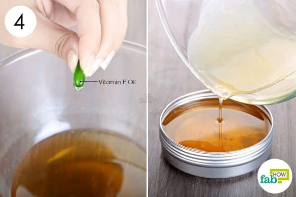 add and mix in vitamin E oil to make DIY cuticle cream