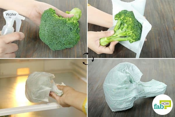 use paper towels to store broccoli