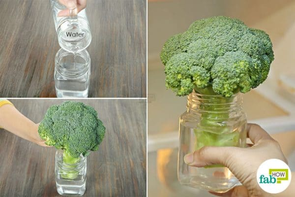store broccoli in a jar of water