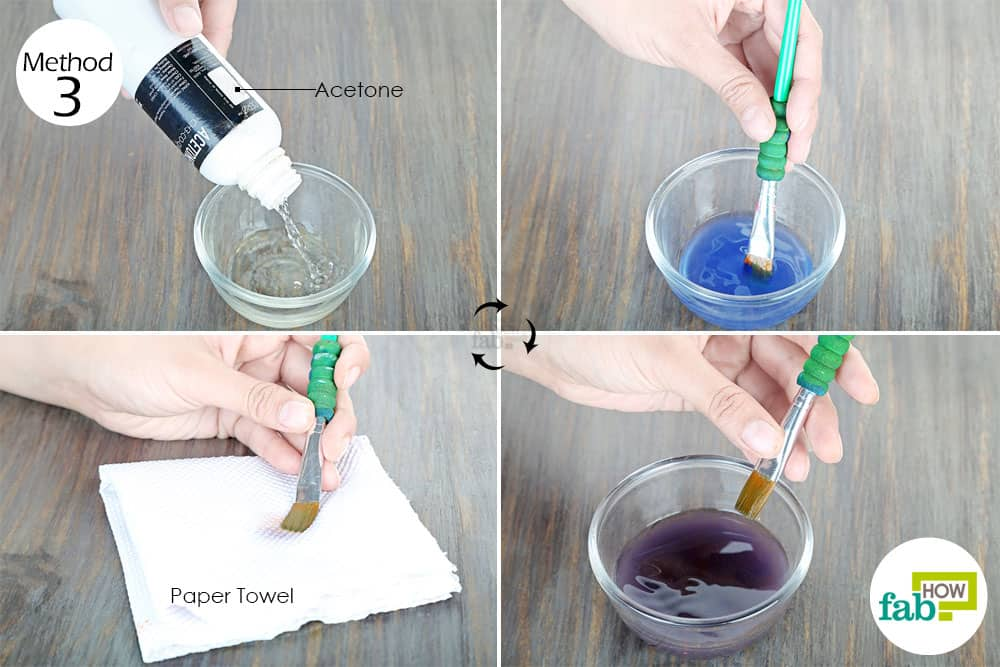 use acetone to clean paintbrushes
