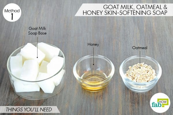things needed to make DIY goat milk soap with oatmeal and honey