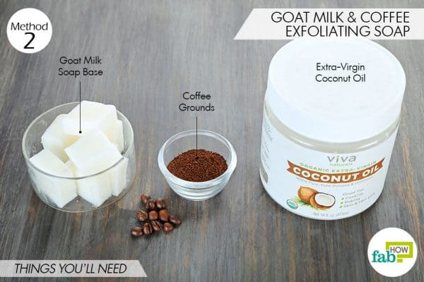 things needed to make DIY goat milk soap with coffee and coconut oil