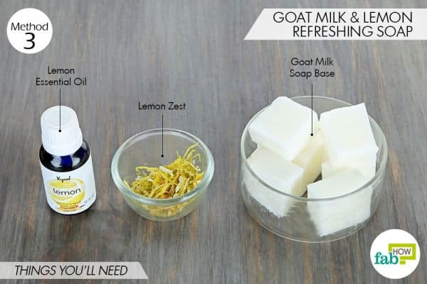 things needed to make DIY goat milk soap with lemon