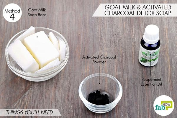things needed to make DIY goat milk soap with activated charcoal