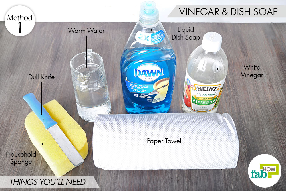things needed to remove lipstick stains from carpet and upholstery using vinegar and dish soap