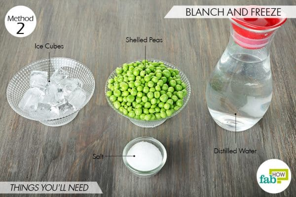 things needed to store peas via blanching and freezing