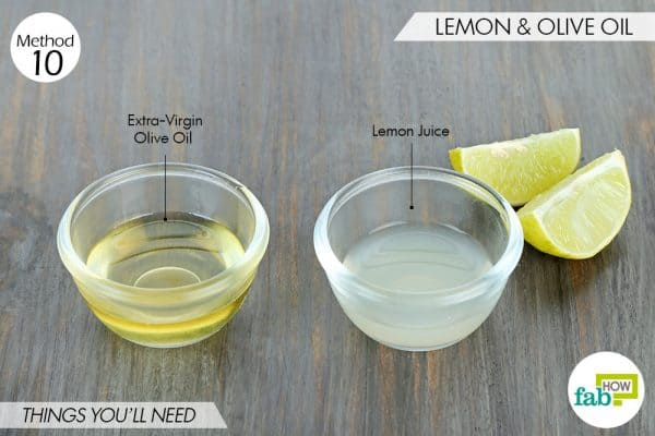 things needed to use lemon to get rid of dark spots with olive oil