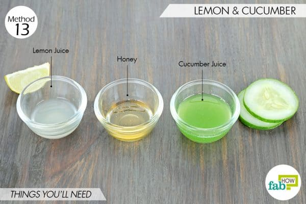 things needed to use lemon to get rid of dark spots with cucumber