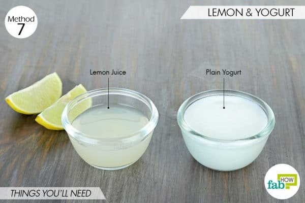 things needed to use lemon to get rid of dark spots with yogurt