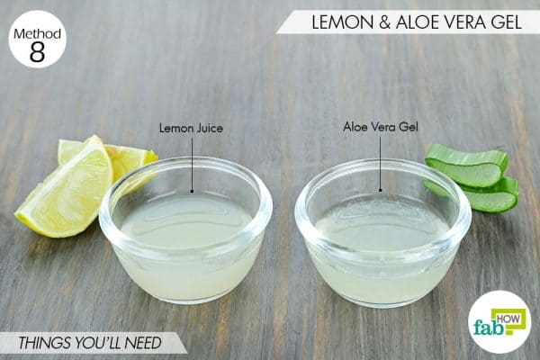 things needed to use lemon to get rid of dark spots with aloe vera gel