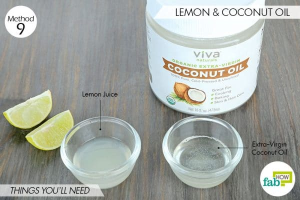 things needed to use lemon to get rid of dark spots with coconut oil