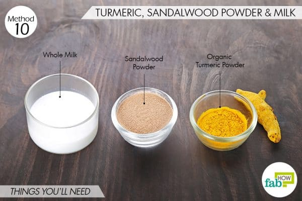 things needed to use turmeric for skin lightening with sandalwood and milk