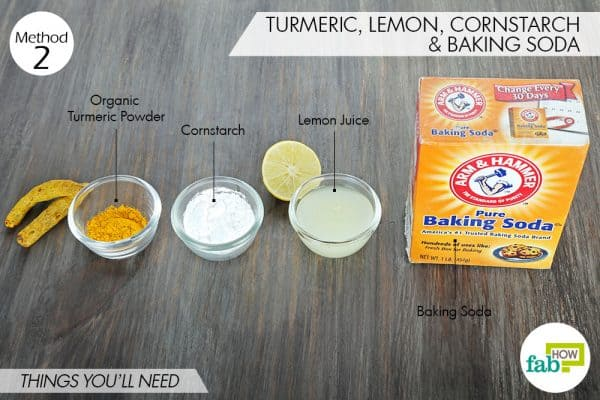things needed to use turmeric for skin lightening with lemon, cornstarch, and baking soda