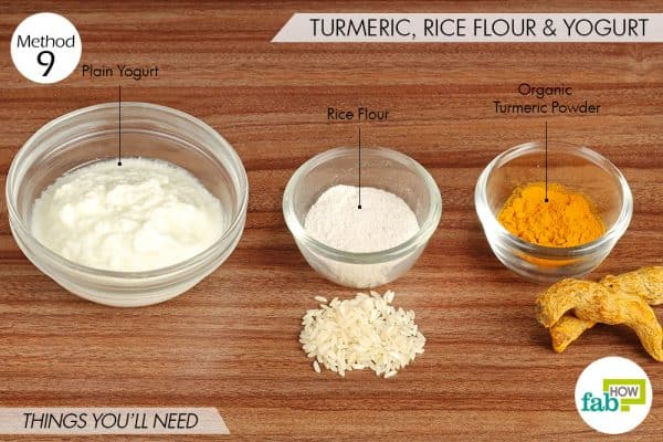 things needed to use turmeric for skin lightening with rice flour and yogurt