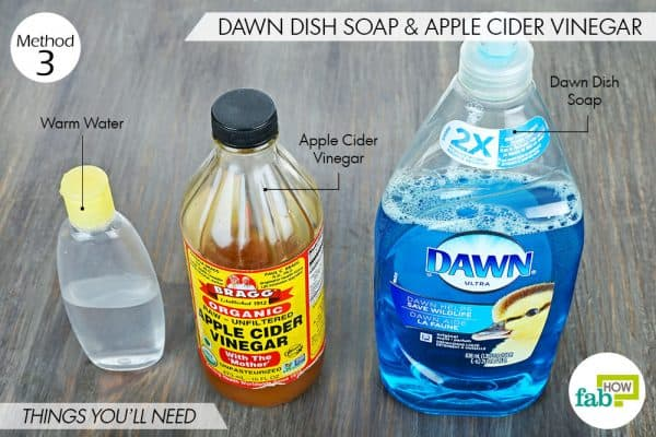 things you'll need to use Dawn dish soap and apple cider vinegar for dog fleas