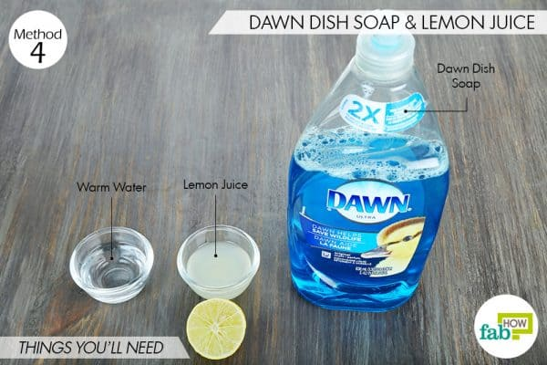 things you'll need to use Dawn dish soap and lemon juice for dog fleas