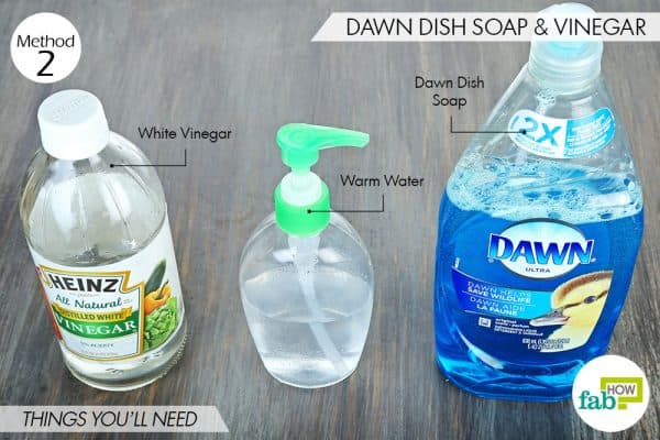 things you'll need to use Dawn dish soap and white vinegar for dog fleas