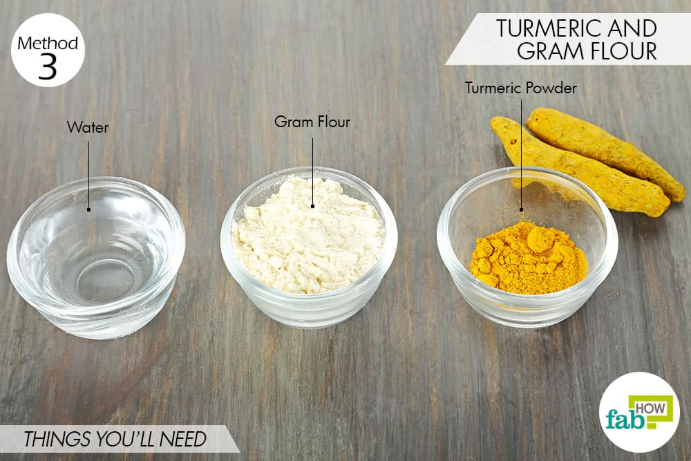 things needed to use turmeric for oily skin with gram flour