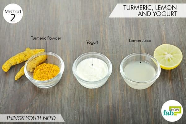 things needed to use turmeric for oily skin with lemon and yogurt