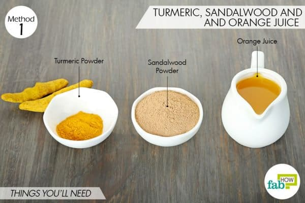 things needed to use turmeric for oily skin with sandalwood and orange juice