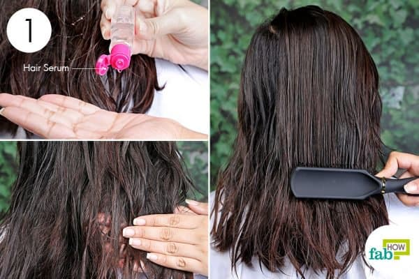 apply hair serum to blow-dry curly hair to straight