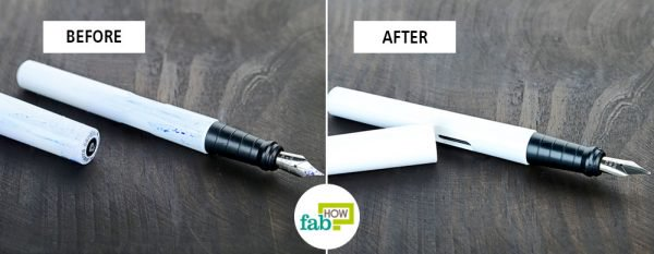 before and after deep cleaning to clean a fountain pen