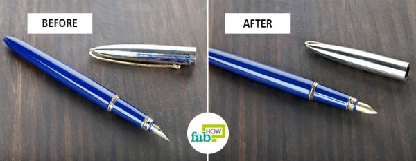 before and after basic cleaning to clean a fountain pen