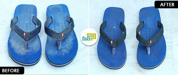 before and after to clean flip-flops in washing machine