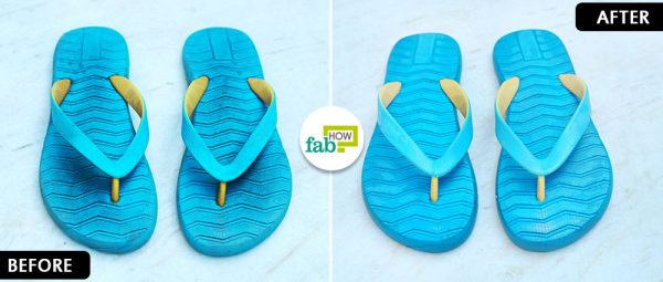 before and after to clean flip flops with baking soda