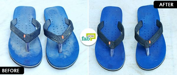 before after using dish soap to clean fli-flops
