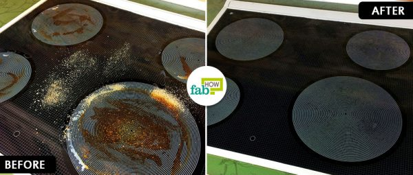 before and after cleaning glass stovetop