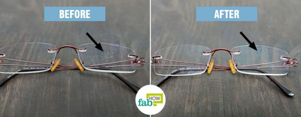 before after using baking soda to clean scratches on glasses