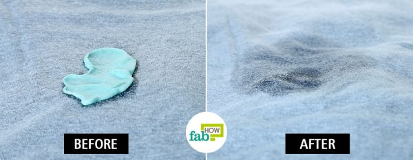before and after using WD-40 to remove chewing gum from clothes