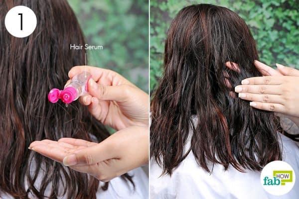 apply hair serum to blow-dry curly hair