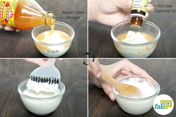 combine yogurt, vinegar and tea tree oil to use acv for dandruff