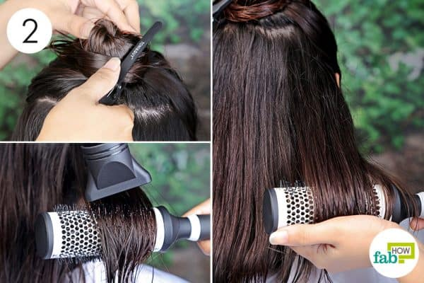 partition your hair into sections to blow-dry curly hair to straight