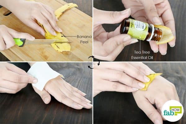 put tea tree oil on banana peel and apply to use banana peel for health and beauty