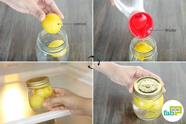 refrigerate in a jar of water to store lemons