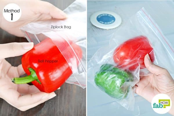 seal in a ziplock to store bell peppers