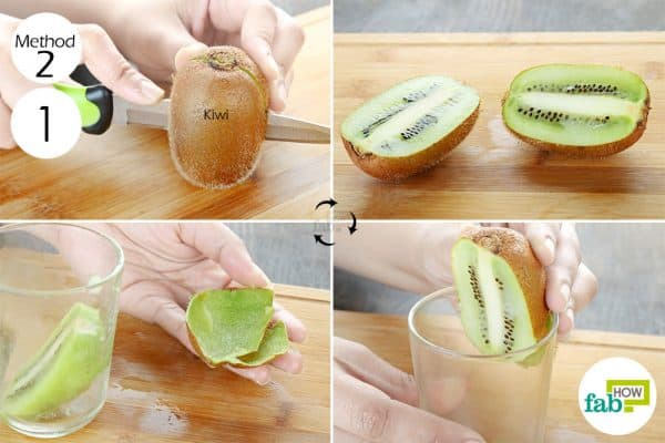 slice in half and push it down on the glass edge to peel and cut akiwi