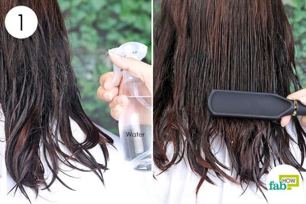 dampen and detangle hair to blow-dry short hair