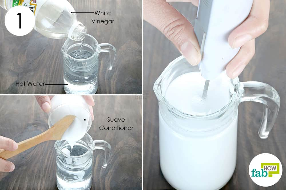 mix vinegar and hair conditioner in water to make fabric softener