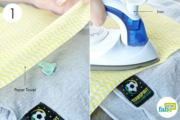 put paper towel over gum and iron it to remove chewing gum from clothes