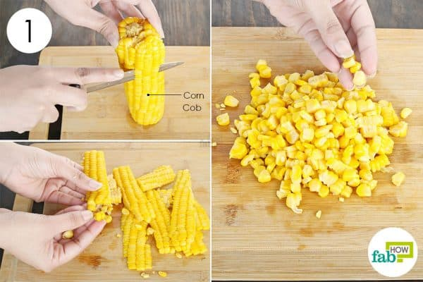 remove kernels from the cob to store sweet corn