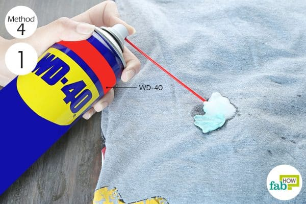 spray WD-40 on the gum to remove chewing gum from clothes