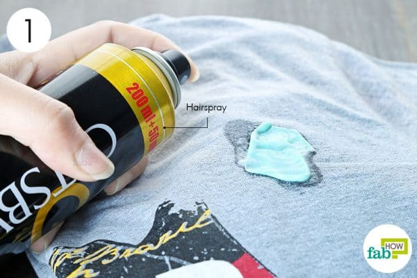 spray hair spray on gum to remove chewing gum from clothes