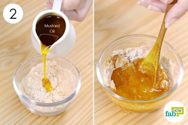 add mustard oil to remove Holi color from skin