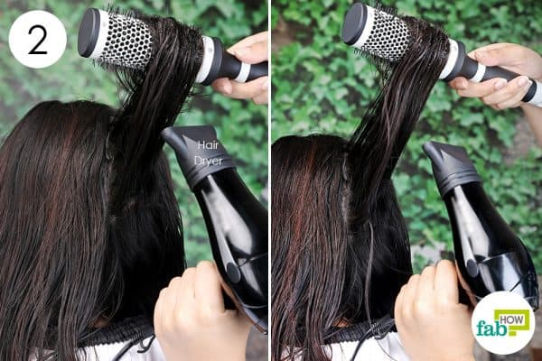 part your hair in section and blow-dry short hair