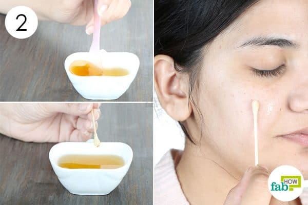 Mix well and apply to use honey for acne